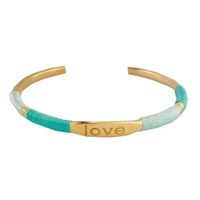 Armband Love gouden rvs roest vrij stalen armband tekst mint en turquoise koord pastel accessoires armbanden dames