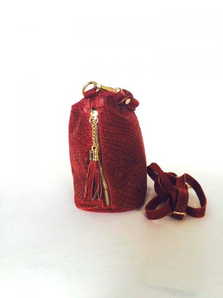 Leren handtas Kyara bordeaux gevlochten leren handtas hengsel hippe tas schouder tas tassen online kopen musthave accessoires bags online kopen zijk