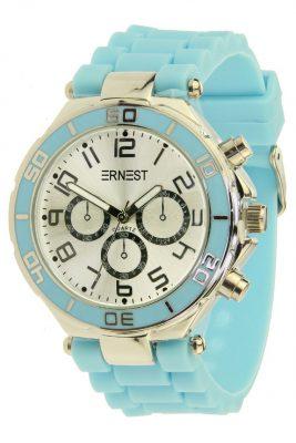 HORLOGE SILVER CASE-blauw blauwe musthave ERNEST horloges siliconen bandje