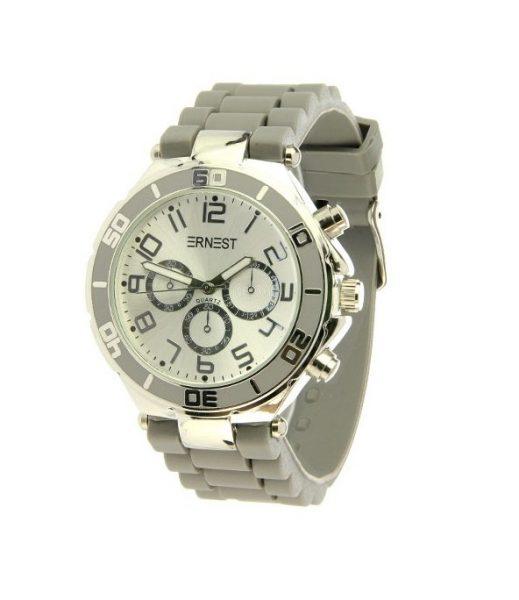 HORLOGE SILVER-CASE grijs grijze grey musthave ERNEST horloges siliconen bandje