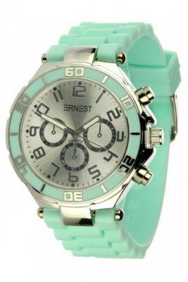 HORLOGE SILVER CASE mint turquoise kleur musthave ERNEST horloges siliconen bandje