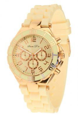 Horloge ROSÉ COPIA Creme nude Souris D'Or horloges met hippe goud meekleurend siliconen bandje hippe musthaves