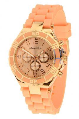 Horloge ROSÉ COPIA zalm Souris D'Or horloges met hippe goud meekleurend siliconen bandje hippe musthaves