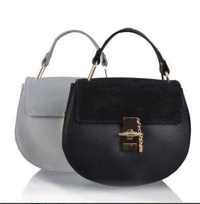 Leren tas Chloé zwart black grijs grey musthave saddle bag leer suede musthave tassen online kopen goedkoop merk