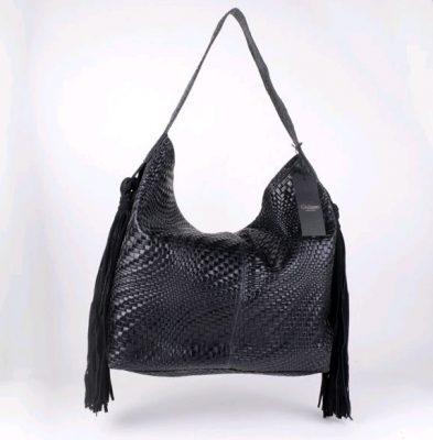 Leren Tas Lily Fringe zwart black Suède tas met geperst geweven motief luxe tassen giulliano online lederen tassen kopen franjes fringe