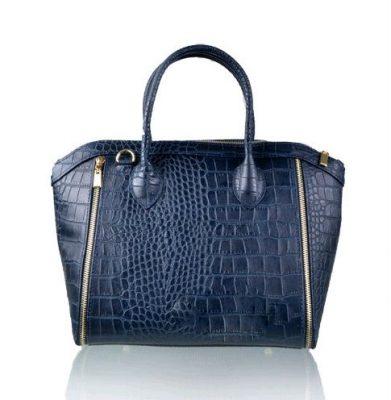 Leren-tas-Croco-Love-blauw blauwe -musthave-it-bag-krokro-ritsen-leder-gouden-accessoires-tassen-musthave-tassen-online-kopen-goedkoop-Italiaans-leder