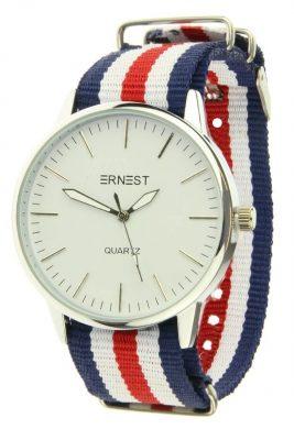 Horloge strips blauw wit rood horloges met gekleurde armband musthave ernest horloges hippe musthave sieraden