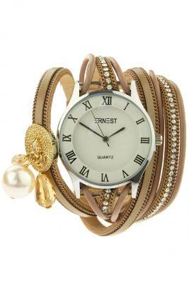 Horloge armband Bliss taupe armbanden en horloges ernest musthave speciale horloges met steentjes parels