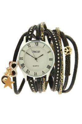 Horloge armband Bliss zwart zwarte armbanden en horloges ernest musthave speciale horloges met steentjes parels