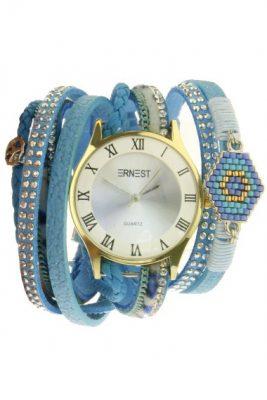 Horloge armband aztec blauw blauwe armbanden en horloges ernest musthave speciale horloges met steentjes parels