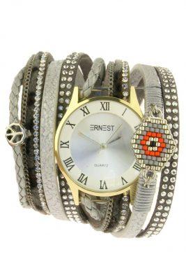 Horloge armband aztec licht grijs grijze armbanden en horloges ernest musthave speciale horloges met steentjes parels