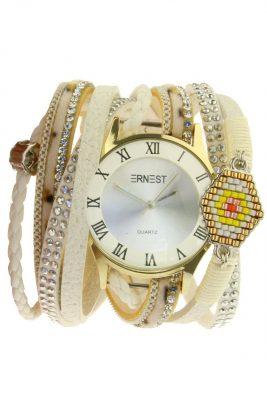 Horloge armband aztec wit witte armbanden en horloges ernest musthave speciale horloges met steentjes parels