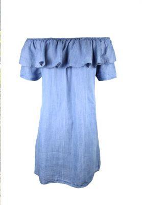 JURK TESSA BLUE JEANS blauw blauwe katoenen strapless jurk off the shoulder jurken zomer jurken jurkjes online kopen sexy zomer jurk