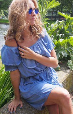 JURK TESSA BLUE JEANS blauw blauwe katoenen strapless jurk off the shoulder jurken zomer jurken jurkjes online kopen sexy zomer jurken