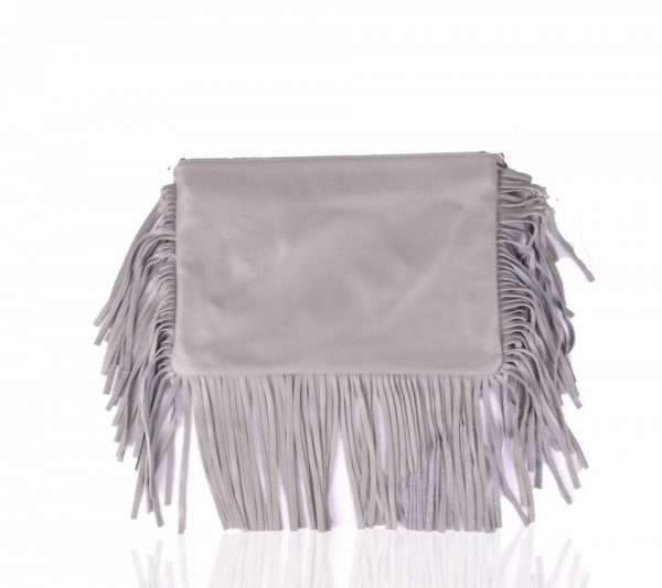 Leren Clutch-fringe grijs grijze clutches-leder leer -franjes-side-fringe-giuliano-leren-dames-tassen-goedkoop