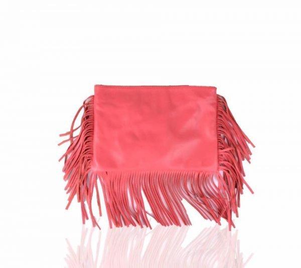 Leren Clutch-fringe-rood rode -clutches-leder leer -franjes-side-fringe-giuliano-leren-dames-tassen-goedkoop