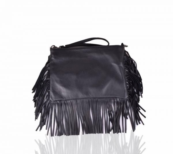 Leren Clutch-fringe zwart zwarte clutches-leder leer -franjes-side-fringe-giuliano-leren-dames-tassen-goedkoop