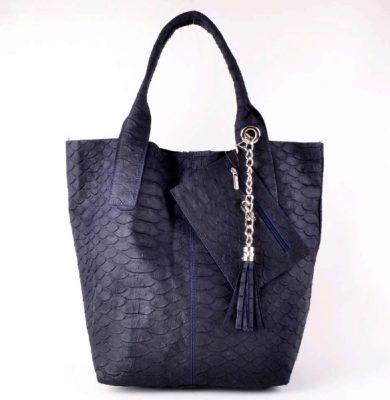 Leren Shopper Snakes blauw blauwe luxe lederen shopper met portemenee zilveren accessoires it bags online bestellen kopen