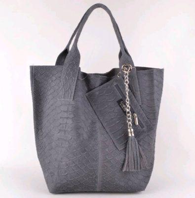 Leren Shopper Snakes grijs grijze luxe lederen shopper met portemenee zilveren accessoires it bags online bestellen kopen