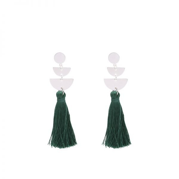 Oorbellen Cool Tassel groen groene Earrings lange oorbel kwastje zilveren zilver detail musthave fashion online kopen buy