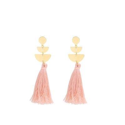 Oorbellen Cool Tassel roze pink Earrings lange oorbel kwastje goud gouden detail musthave fashion online kopen buy