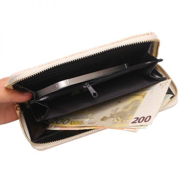 Portemonnee Croco beige dames pasjes portemonee slangenprint online bestellen kopen musthave accessoires binnenin