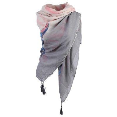Sjaal Autumn Bull grijs grijze dames sjaal omslagdoek scarf buffels stieren kop detail kwastjes boho kopen online