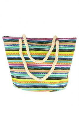 Strandtas multi stripes lime groen strandtassen gekleurde strepen musthave grote strandtassen online kopen goedkopen