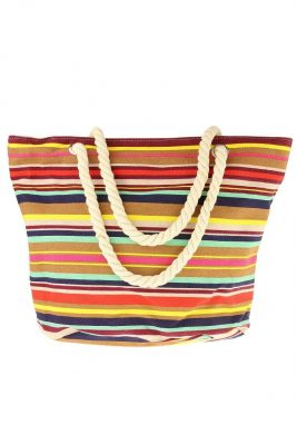 Strandtas stripes multicolor