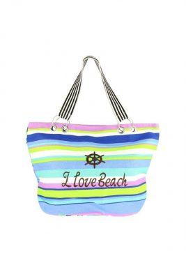 strandtas sunny beach lichtblauw strandtassen gekleurde strepen en tekst musthave grote strandtassen online kopen goedkopen
