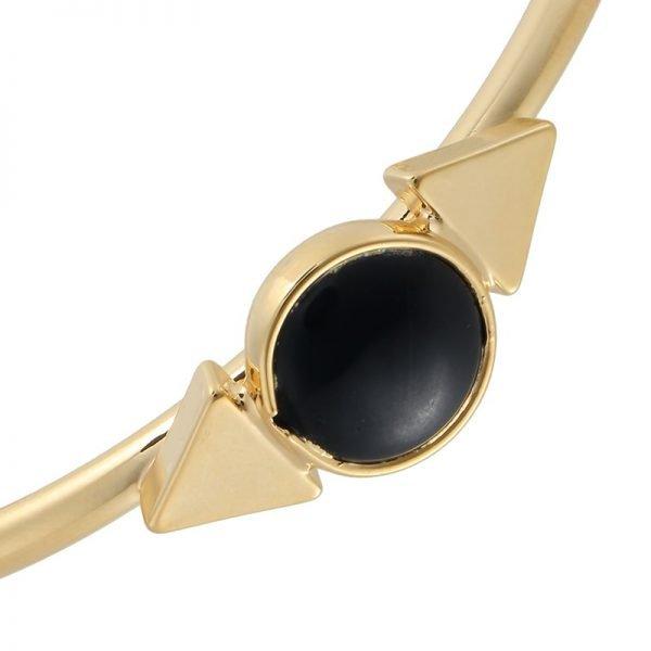 Armband Natuur steen goud gouden armbanden met zwarte steen open armband online musthave-sieraden en accessoires kopen detail