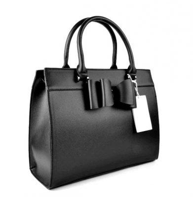 Handtas Bow zwart zwarte luxe handtas kunst leder leuke goedkope tassen online bestellen kopen merk giuliano 1