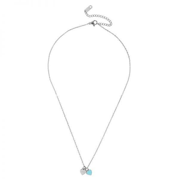 Ketting Double Hearts turquoise zilver zilveren ringen losse hartjes online bestellen kopen accessoires en sieraden
