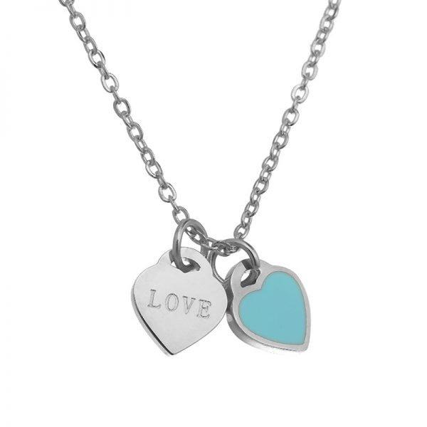 Ketting Double Hearts turquoise zilver zilveren ringen losse hartjes online bestellen kopen accessoires en sieraden detail