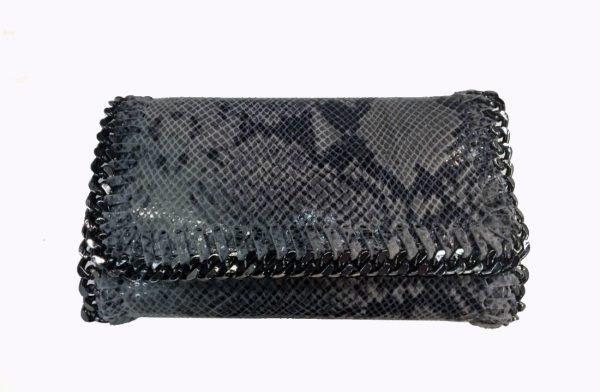Leren-Clutch-Stella-Slang- donker grijs-grijze-mooie-luxe-slangen-print-lederen-clutches-met-kettingen-online-it-bags-kopen-bestellen luxe