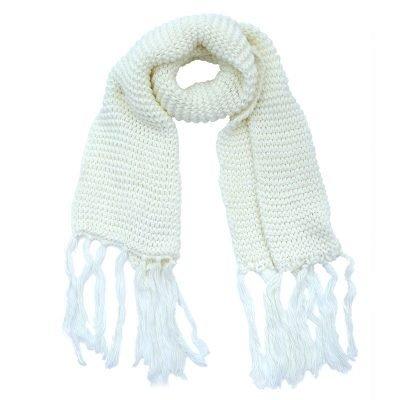 Sjaal Winter wit witte warme gebreide lange sjaal met fringe franjes online bestellen sjaals omslagdoeken