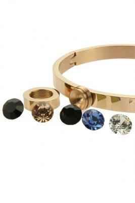 rvs armband stones rose gouden armband met verwisselbare gekleurde stenen musthave sieraden accessoires details
