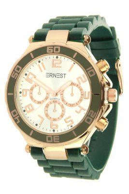 horloge-ernest-donker-groen-groene-horloges-musthave-gouden-case-horloges-siliconen-bandje