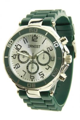 horloge-ernest-donker-groen-groene-horloges-musthave-zilveren-case-horloges-siliconen-bandje