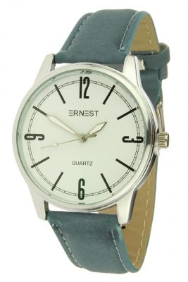 Horloge TESSA zilver zilveren horloge jeans blauw blauwe band kast musthave horloges onlne kopen bestellen ernest horloges