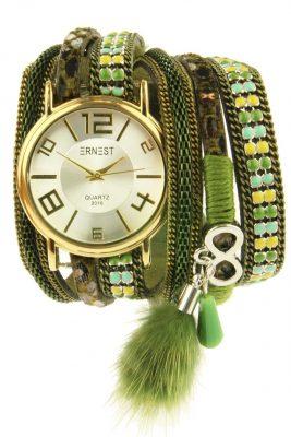 Horloge armband GOLDIEN groen groene horloge verschillende armbanden kwastjes ernest horloge musthaves