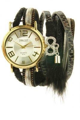 Horloge armband GOLDIEN zwart zwarte horloge verschillende armbanden kwastjes ernest horloge musthaves