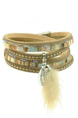 wikkel-armband-feather-pluche-beige-brede-wikkelarmbanden-armbanden-staart-pluche-accessoires
