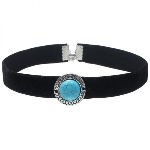 choker-trendy-turquoise-steen-zilveren-hangers-velvet-chokers-kettingen-sieraden-fashion-online-bestellen