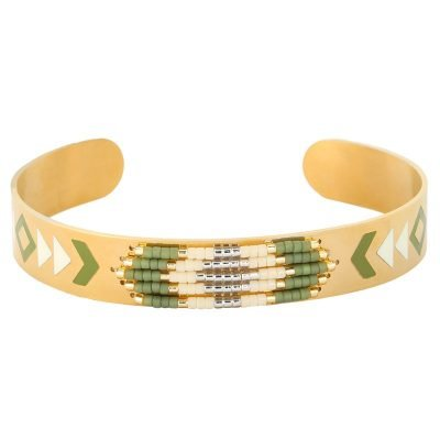 RVS Armband Colorful beads goud gouden open armband groen witte kraaltjes en print aztec boho