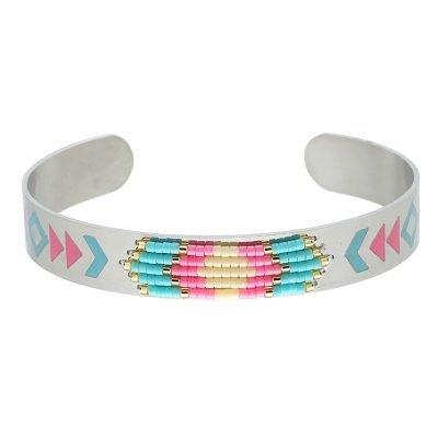 RVS Armband Colorful beads zilver zilveren open armband turquoise mint roze kraaltjes en print aztec boho