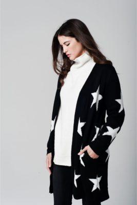 zwart-vest-stars-zwarte-lange-vesten-cardigans-lange-mouwen-dames-mode-witte-sterren-print-online