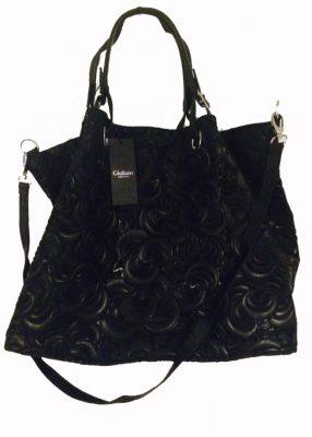 zwarte-leren-tas-flowers-luxe-grote-lederen-zwart-dames-bloemenrelief-handtassen-tassen-online-guiliano-zilver