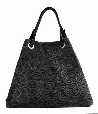 zwarte-leren-tas-flowers-luxe-grote-lederen-zwart-dames-handtassen-tassen-online-guiliano-zilver