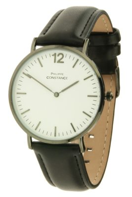 horloge-philippe-leder-zwart-zwarte-leren-horlogeband-zwart-donker-zilver-witte-kast-musthave-horloges-onlne-kopen-bestellen-philippe-constance-horloges